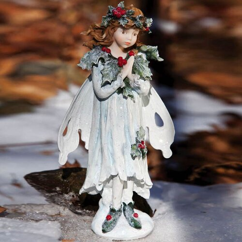 Snow and Ice Holly Berry Forest Fairy Standing Fairy Statue Christmas Decoration