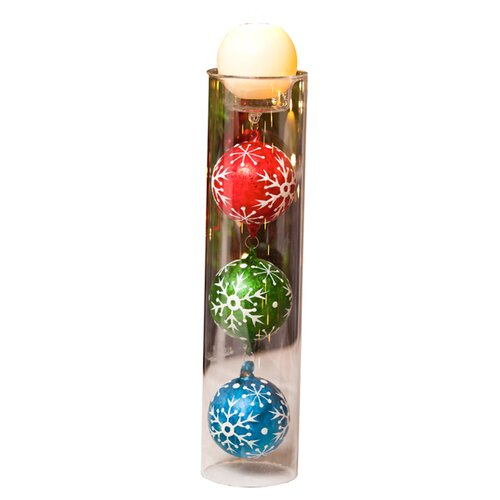 Cypress Home Holiday Festivities Ornaments in Glass Candle Holder