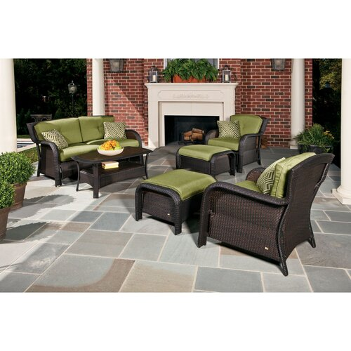 Hanover outdoor strathmere 6 piece seating group with for Outdoor furniture wayfair