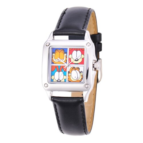 Garfield Women's Square Steel Leather Strap Watch