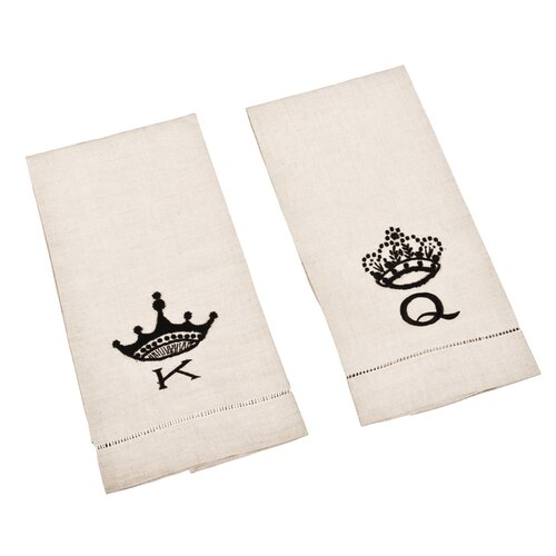 Saro Hemstitched King and Queen Towel (Set of 2)