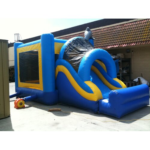 JumpOrange Dolphin Mega Wet/Dry Commercial Grade Inflatable Bouncy House and Slide Combo