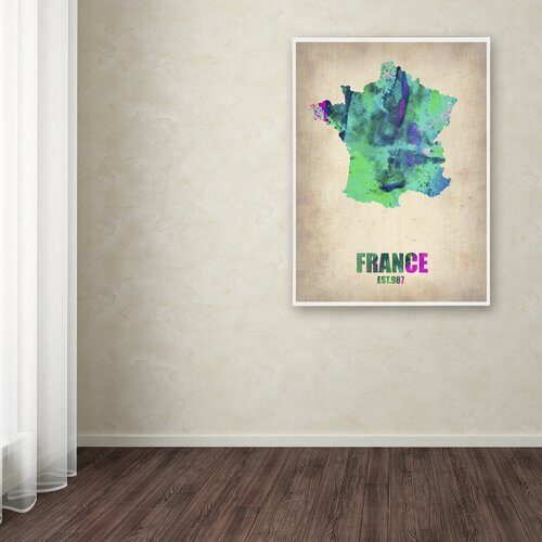'France Watercolor Map' Canvas Art by Naxart