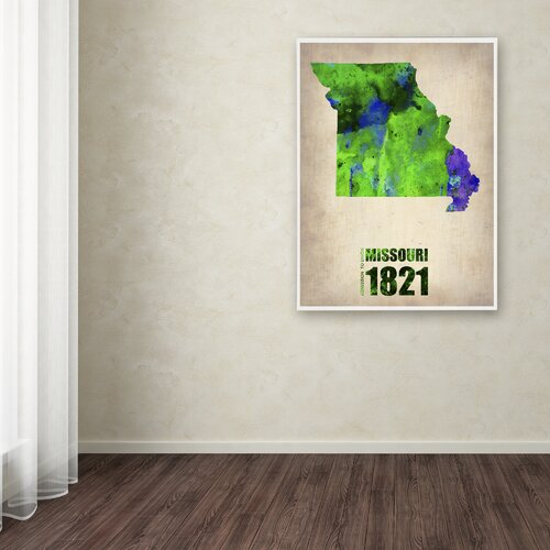 'Missouri Watercolor Map' Canvas Art by Naxart