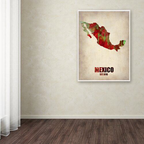 'Mexico Watercolor Map' Canvas Art by Naxart