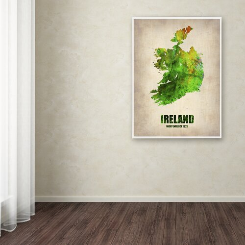 'Ireland Watercolor Map' Canvas Art by Naxart