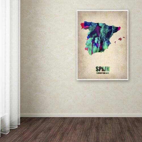 'Spain Watercolor Map' Canvas Art by Naxart