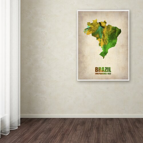 'Brazil Watercolor Map' Canvas Art by Naxart