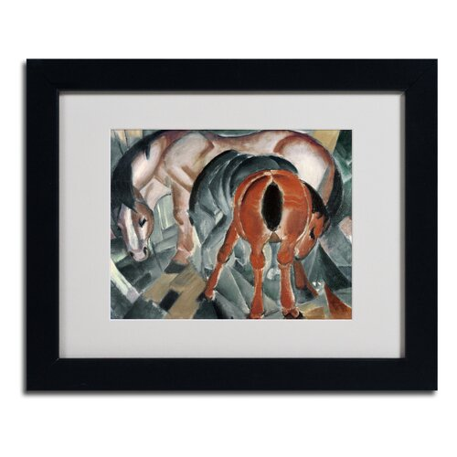Franz Marc 'Horse With Two Foals 1912' Matted Framed Art