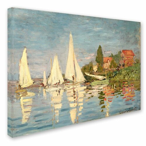 "Trademark Fine Art ""Regatta at Argenteuil"" by Claude Monet Painting Print on Canvas"