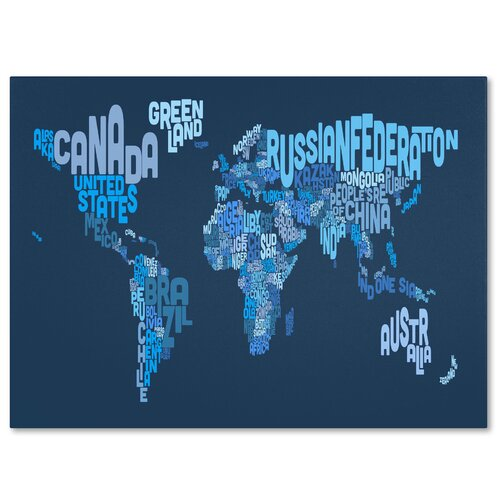 "Trademark Fine Art ""World Text Map 2"" by Michael Tompsett Textual Art on Wrapped Canvas"