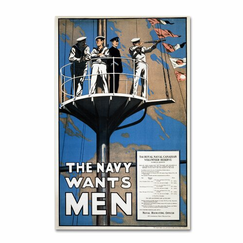 'Recruitment Poster for the Royal Canadian Navy' Vintage Advertisement on Canvas