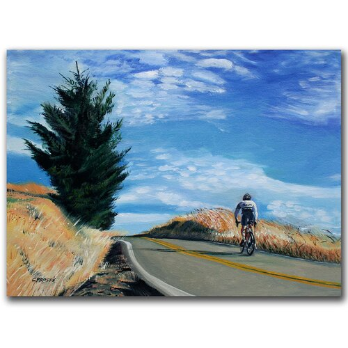 "Trademark Fine Art ""Biker Ascending"" by Colleen Proppe Painting Print on Canvas"