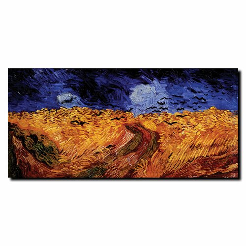 """Trademark Fine Art """"Wheatfield with Crows"""" by Vincent van Gogh Painting Print on Canvas"""