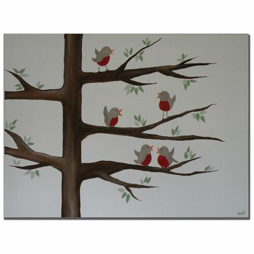 Trademark Fine Art 'Red Robins' by Nicole Dietz Painting Print on Canvas