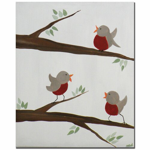 'Red Robins III' by Nicole Dietz Painting Print on Canvas