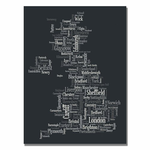 'UK Font Cities' by Michael Tompsett Graphic Art on Canvas