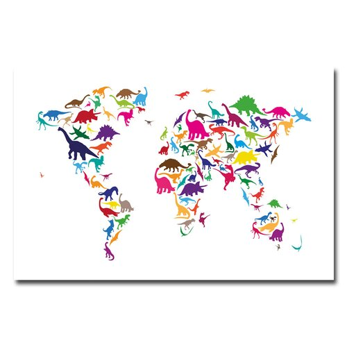 Trademark Fine Art 'Dinosaur World Map' by Michael Tompsett Graphic Art on Canvas