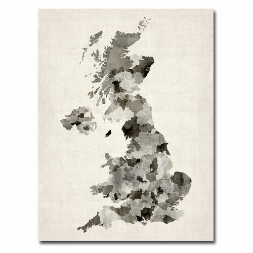'UK Watercolor Map' by Michael Tompsett Graphic Art on Canvas