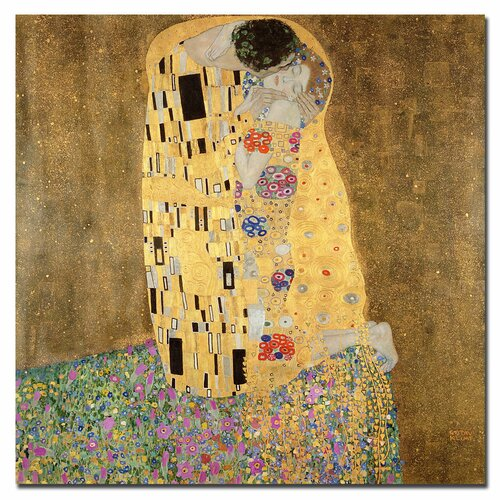 "Trademark Fine Art ""The Kiss, 1907-8"" by Gustav Klimt Painting Print on Canvas"