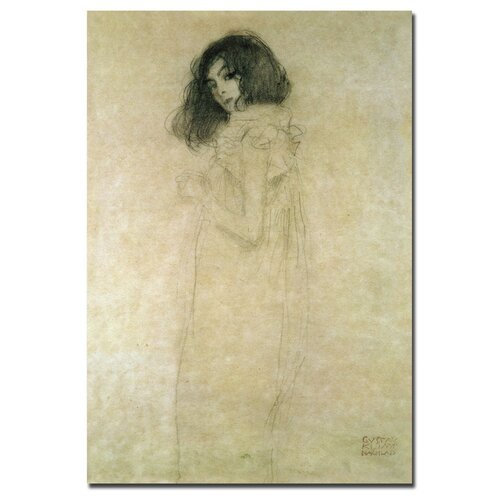 "Trademark Fine Art ""Portrait of a Young Woman, 1896-97"" by Gustav Klimt Graphic Art on Canvas"