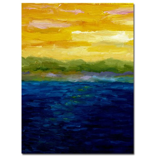 'Gold and Pink Sunset' by Michelle Calkins Painting Print on Canvas