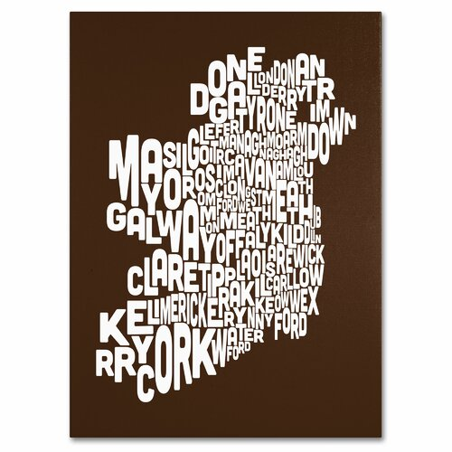 Ireland Text Map' by Michael Tompsett Textual Art on Canvas in Chocolate