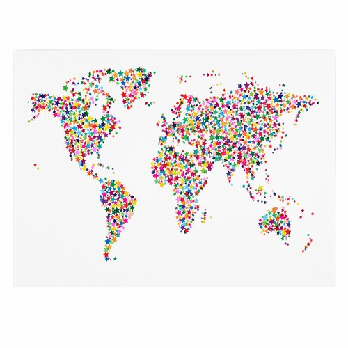 Trademark Fine Art 'Stars World Map' by Michael Tompsett Graphic Art on Canvas