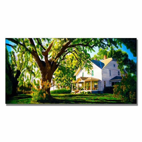 'Farm House' by Roderick Stevens Painting Print on Canvas