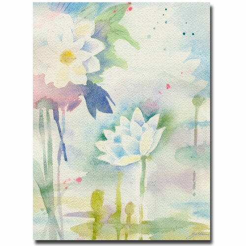 'White Lotus' by Sheila Golden Painting Print on Canvas