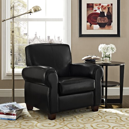 Dorel Austin Faux Leather Rolled Arm Club Chair