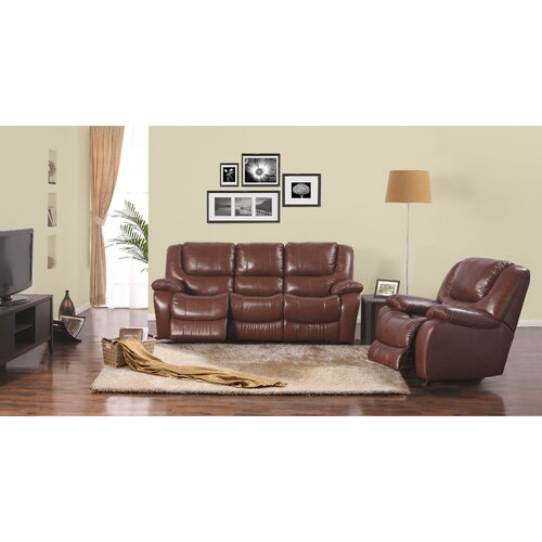 Space Saving 2 Piece Leather Motion Sofa Set