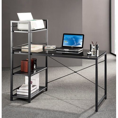Techni Mobili Glass Top Computer Desk With 4 Shelf Metal