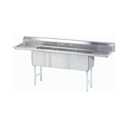 """Advance Tabco Fabricated Bowl 75"""" x 21"""" 3 Compartment Scullery Sink"""
