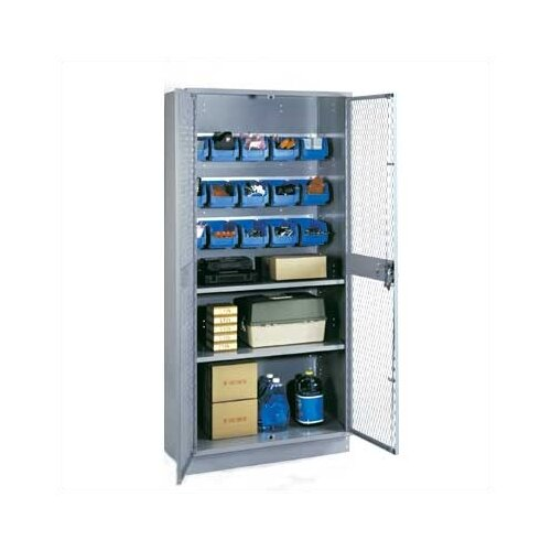 """Lyon Workspace Products All-Welded Visible Storage Cabinet with 2 Shelves, 15 Bins, and 4"""" Base: 72"""" H x 36"""" W x 18"""" D"""