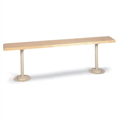 Lyon Workspace Products Hardwood Locker Room Bench with Standard Steel Pedestals