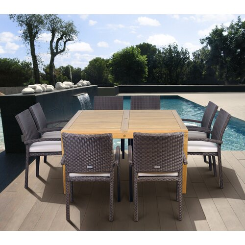 International Home Miami Amazonia Teak Davenport 9 Piece Dining Set