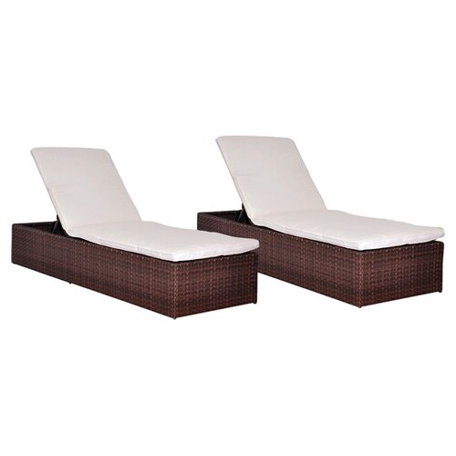 International Home Miami Oxford Chaise Lounge with Cushion (Set of 2)