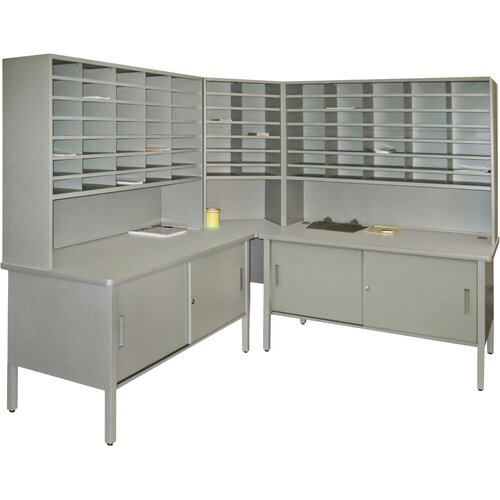 Marvel Office Furniture 84 Slot Corner Literature Organizer with Cabinet