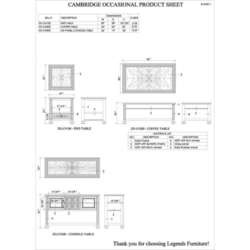 "Legends Furniture Cambridge 52"" TV Stand"