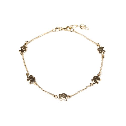 Sterling Essentials 14k Gold over Silver Lucky Elephants Anklet