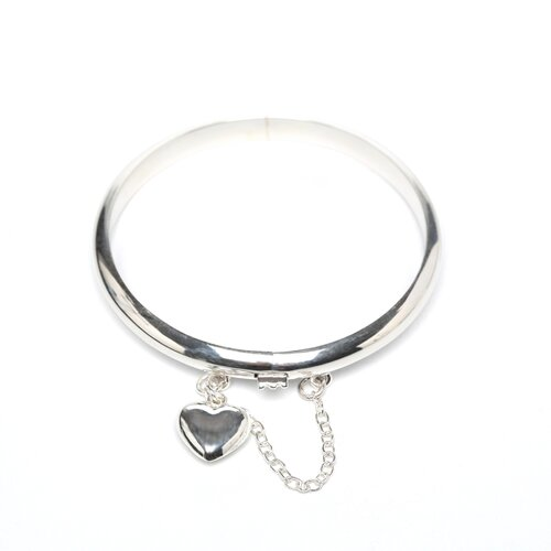 Sterling Essentials Sterling Silver Baby Bangle with Heart Charm