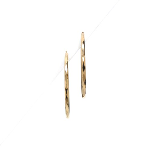 Sterling Essentials 14k Gold over Silver 49.5mm Faceted Hoop Earrings