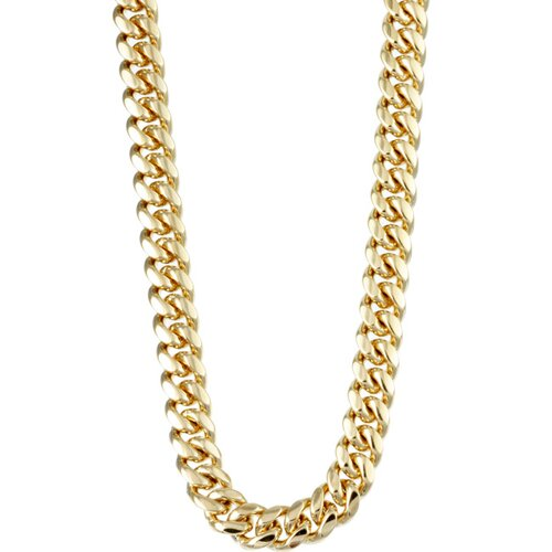 Sterling Essentials 14k Gold over Silver 18 inches Classic Cuban Link Necklace