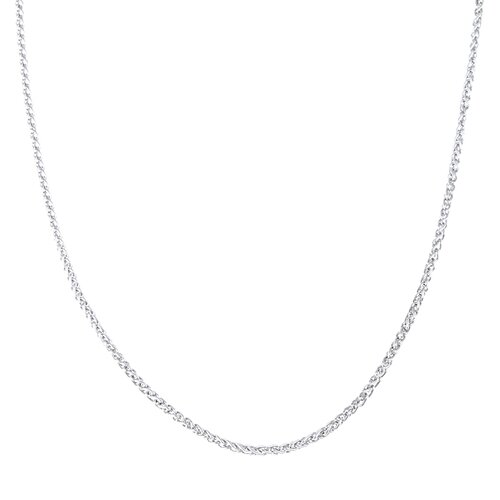 Sterling Essentials Platifina Platinum Plated Sterling Silver 20 inches Wheat Chain