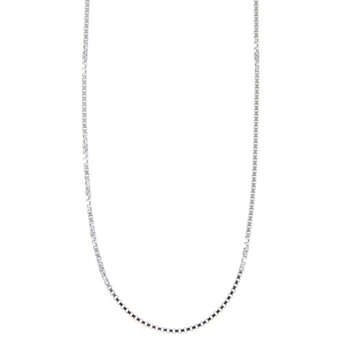 Sterling Essentials Platifina Platinum Plated Sterling Silver 24 inches Venetian Box Chain Necklace