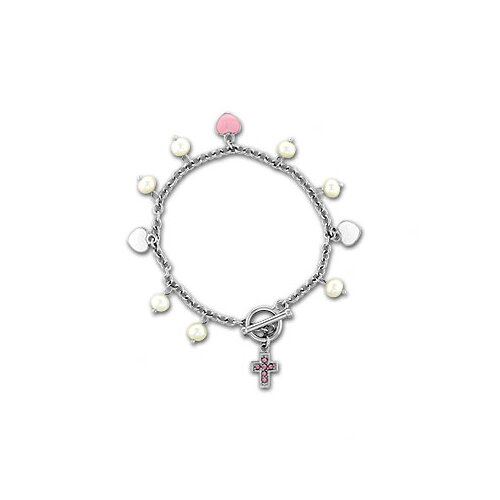 Sterling Essentials Sterling Silver Cubic Zirconia Cross/ Cultured Pearl Child's Bracelet (5-5.5 mm)