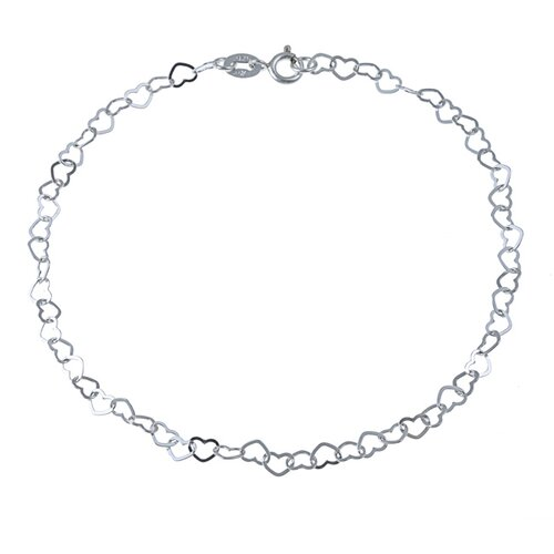 Sterling Essentials Sterling Silver 10 inches Flat Heart Links Anklet