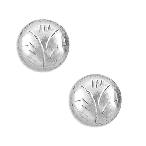 Sterling Essentials Sterling Silver Engraved Half-dome Stud Earrings
