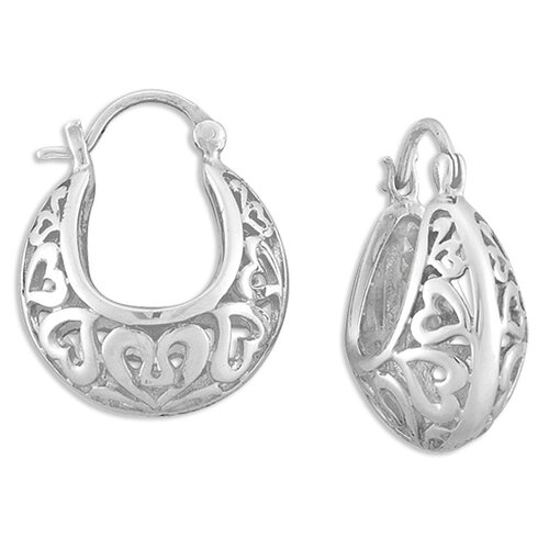 Sterling Essentials Sterling Silver Cutout Hearts Hoop Earrings